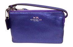 Coach Crossgrain Corner Zip Wristlet 53429 Metallic Purple Iris - http://bags.bloggor.org/coach-crossgrain-corner-zip-wristlet-53429-metallic-purple-iris/