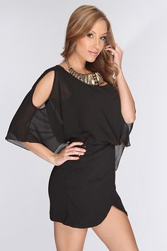 Black Scoop Neck Sexy Party Dress