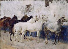 EmbARK Web Kiosk John Singer Sargent Artist Dates: (Florence, Italy, Jan 12, 1856 - Apr 15, 1925, London, England) Title: Horses at Palma Date: Majorca, Spain, 1908 Dimensions: 20 1/2 in. x 28 1/4 in.