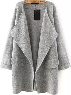 Grey Lapel Loose Sweater Coat