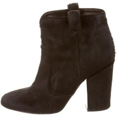 Laurence Dacade Ponyhair Round-Toe Booties ($325) ❤ liked on Polyvore featuring shoes, boots, ankle booties, black, calf hair booties, laurence dacade, block heel booties, black round toe boots and laurence dacade boots