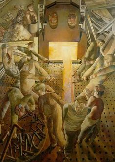 Shipbuilding on the Clyde: The Furnaces; Shipbuilding on the Clyde: The Furnaces, by Stanley Spencer. Stanley Spencer received a commi. Stanley Spencer, Dame Mary, Social Realism, British Literature, English Artists, British Artists, Portraits, Art Database, Gcse Art