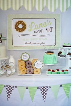 Retro Donut Shop Themed Party with darling ideas.  Love the mint green and brown color scheme. TONS of other party ideas, party supply shop and cute DIY projects and tutorials at www.pinkpeppermintprints.com