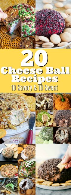 20 Cheese Ball Recipes - Cheese Balls are easy to make and they're always a hit at parties and holiday dinners! Ready for some great recipes? Here are 20 Cheese Ball Recipes - 10 Savory Cheese Ball Recipes and 10 Sweet Cheese Balls Recipes! Best Appetizers, Appetizer Recipes, Easy Snacks, Easy Meals, Salsa, Sandwiches, Cheese Ball Recipes, Easy Cheese, Easy Party Food