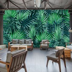 Free Shipping Tropical rain forest leaves mural restaurant living room dining room hall background fresh green wallpaper mural