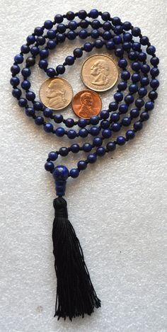 108 Lapis Lazuli Hand Knotted Mala Beads Necklace - Energized Karma Ni – AwakenYourKundalini