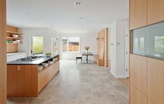 Contemporary Kitchen with Soapstone counters, Flush, Glass panel door, Breakfast nook, Barroca soapstone countertop