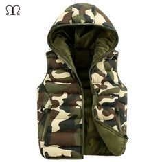 Fair price Fur Vest Outwear Camouflage Cotton Hooded Chaleco Hombre Vests Men Manteau Homme Sleeveless Down Jacket Vest Waistcoat Man 2016 just only $19.75 with free shipping worldwide  #jacketscoatsformen Plese click on picture to see our special price for you