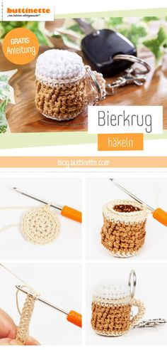 Father& Day gift: crochet beer mug yourself- Geschenk zum Vatertag: Bierkrug selber häkeln Looking for a special Father& Day gift? 🍺🧡 We have the right instructions for you. Diy Father's Day Gifts, Father's Day Diy, Housewarming Gift Baskets, Fathers Day Presents, Crochet Gifts, You Are The Father, Crochet Projects, Best Gifts, Beer
