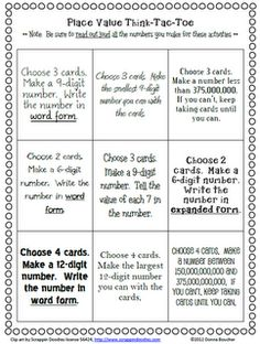 Classroom Freebies Too: Place Value Choice Board