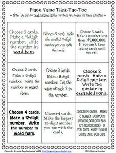 Classroom Freebies Too: Place Value Choice Board