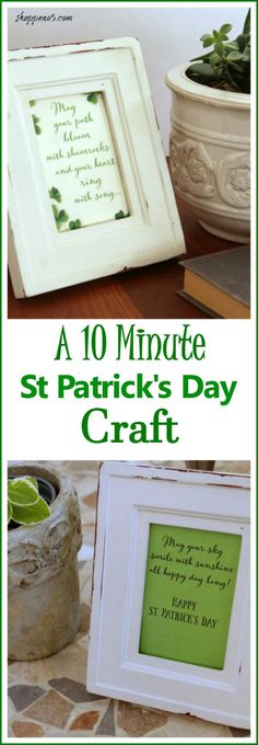 Do you decorate for St Patrick's Day? I really don't go all out. Do you? But I like to have a little something out. And this little something is a 10 Minute St Patricks Day Craft. It is so easy that I feel silly sharing it with you. But sometimes you don't need to spend a load of time creating.