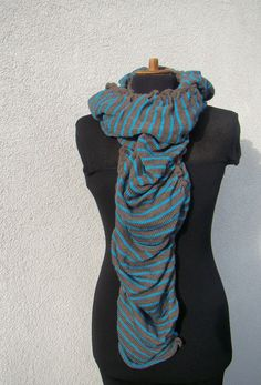 Striped Merino Scarf Brown and Turquoise by deliriumkredens, $55.00