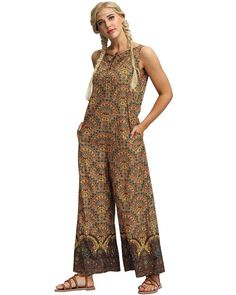 Brown Tribal Floral Print Sleeveless Wide Leg Summer Beach Jumpsuit, the new jumpsuits and rompers collection is extremely complex and bold, stylish and chic. Package Contains one piece of jumpsuit Size Fits Available for women. True to size. Place order base on size chart will be better.S, M, L Color brown Pattern tri Jumpsuit Style, Bodycon Jumpsuit, Beach Jumpsuits, Daily Wear, Summer Beach, Going Out, Wide Leg, Size Chart, Floral Prints