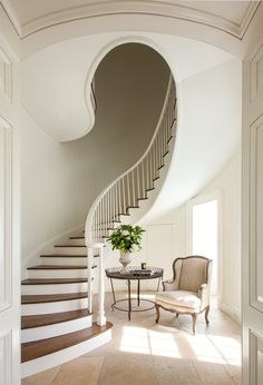 Designs by Sundown is a 2020 Gold List honoree featured in Luxe Interiors + Design. See more of this design professional's projects. Staircase Architecture, Interior Staircase, Grand Staircase, Staircase Design, Interior Architecture, Stair Design, Grand Foyer, Curved Staircase, Staircase Ideas