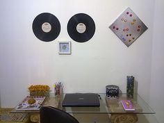 reciclando discos de vinil + fundo de gaiola