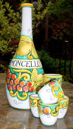 This beautiful Limoncello set is the perfect way to serve Italian Limoncello liquor. A wonderful addition to any buffet or bar area. The large Italian ceramic bottle holds 375ML. Hand painted exclusively for Poggi Bonsi by the F.I.M.A. ceramic studio in world-famous Deruta, Italy. Majolica Pottery.  Limoncello is refreshing on hot summer days!