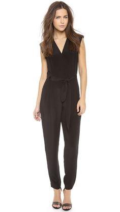 Theory Pavona Selection Black Silk Sleeveless Jumpsuit Sz 8 #Theory #Jumpsuit