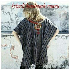 "Ketzali Tijonel Handmade Aztec Tribal Boho Ruana These ponchos are handmade in Guatemala by Ketzali Artizans, using low impact dyes.  Details: length from side to side 36"", from shoulder to the end of the frindge 42"", 100% cotton, handwash only. Midweight soft fabric with a bit of texture. Colors: dark navy blue, gray and beige. Embroidery decoration: gold (like dark mustard), red and beige. The company donates 5% of their profits to educational projects in Latin America.  ✔Read the first…"