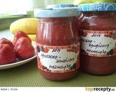 Jahodovo - banánová marmeláda (meruňková višňová,....) Thing 1, Ketchup, Salsa, Jar, Food, Syrup, Essen, Salsa Music, Meals
