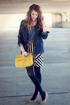 Adorable outfit.  Love the bright pops of yellow and red.