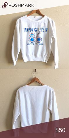 '86 / Vancouver Pullover Details to come!  BRAND:  MATERIAL:  YEAR/ERA:  LABEL SIZE:  BEST FIT:   MEASUREMENTS: Chest inches Length inches  🚫 I do not model or trade, sorry! 💟 Check out my closet for more vintage!     00 Vintage Tops Sweatshirts & Hoodies