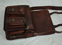 Real leather vintage messenger sling Handmade genuine by lavinas