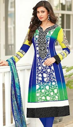 Picture of Sparkling Blue and Green Party Wear Churidar Kameez Pakistani Salwar Kameez, Churidar, Party Wear Dresses, Bollywood Fashion, Bollywood Style, Stunning Dresses, Cotton Dresses, Blouse Designs, Indian Fashion