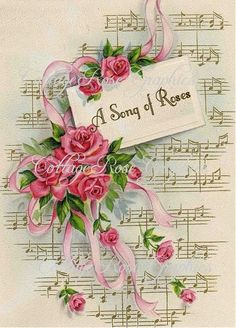 Large digital download A song of Roses pink roses 5x7 vintage sheet music greeting card Link Shared via Saturday's Seller Showcase http://cinnamonrosecottage.blogspot.com/2013/07/saturdays-seller-showcase-at-cinnamon.html: