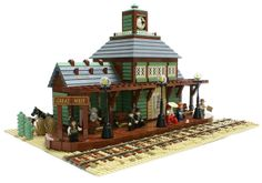 Great West Railway Station by Matija Grguric on Fl Lego Train Station, Minecraft Decoration, Great West, Westerns, Lego Construction, Lego Trains, Lego Room, Lego Modular, Lego Design