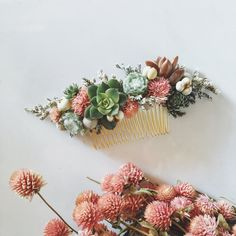 A sweet succulent and dried flower hair comb in shades of green and pink with touches of seasonal floral. Made with real succulents and dried flowers. Succulents may…More Floral Wedding Hair, Floral Hair, Bridal Hair, Wedding Flowers, Flowers In Hair, Dried Flowers, Deco Floral, Spring Wedding, 2017 Wedding