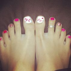 Nursing toes! :) | #nurses #cutenails #funnails