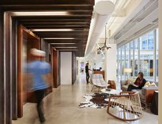 Lovely elevator lobby and waiting area from Dropbox Offices - Austin - Office Snapshots