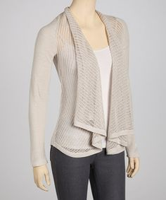 Take a look at this Natural Vagabond Silk-Blend Open Cardigan by Left on Houston on #zulily today!