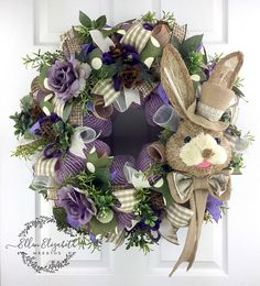 Bunny Wreath, Easter Mesh Wreath, Farmhouse Wreath, Rabbit Wreath, Easter Bunny Wreath, Spring Mesh Wreath, Spring Wreaths for Front Door, Top Hat Bunny This adorable bunny wreath can adorn your door for Easter and all the way thru spring. The bunny wreath is made on a base of