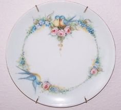 OH, I would love to have this plate! Bluebirds, roses and Forget-Me-Nots hand painted on Bavarian china. All my favorites in one!