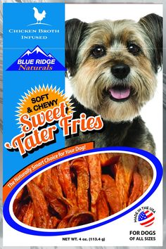 Blue Ridge Naturals Chicken Broth Infused Sweet Tater Fries Dog Treats are soft, flavorful treats that are easy on the gums and provide a safe alternative to rawhide. This fun snack has a fry shape but is filled with antioxidants, beta carotene, vitamins and nutrients from naturally delicious sweet potatoes. It's infused with real chicken broth to satisfy your pup's cravings and has a chewy texture that will satisfy his natural chewing instincts.