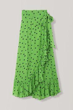 Dainty Georgette Wrap Skirt, Classic Green, hi-res Hijab Fashion, Boho Fashion, Fashion Outfits, Green Fashion, Dress Outfits, Dresses, Dress To Impress, Fashion Brand, Tie Dye Skirt