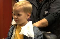 First professional haircut at a barber shop! #firsthaircut #barbershop