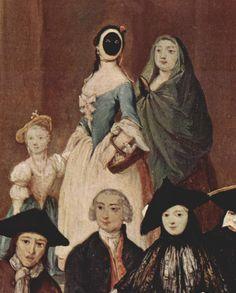 """La Moretta - Connu aussi comme le Serviteur Mute le Moretta masque """"Dark """" était un masque ovale de velours noir avec des trous pour les yeux , mais pas de bouche , porté avec un chapeau à large bord et / ou un voile . L'aspect «silencieux» résulte du fait que le porteur tenait le masque sur son visage en saisissant un bouton entre ses dents . Le masque a été souvent utilisé par les femmes de la classe supérieure de visite des couvents"""