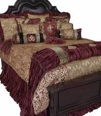 The Majesty Luxury Bedding by Reilly-Chance Collection combines rich burgundy and gold tones for a sumptuous look that is fit for a Queen! The textured jacquard patterns, along with the. Gold Bedding Sets, Luxury Bedding Sets, Comforter Sets, King Comforter, Bedroom Bed, Bedroom Decor, Master Bedroom, Bedrooms, Tuscan Bedroom