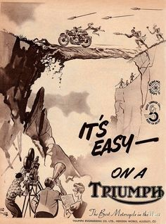 I think this means it's easy to ride a Triumph so hard, your catch of the day becomes Indian prey. - Triumph motorcycle advertising art Plus Triumph Motorcycles, Indian Motorcycles, Triumph Motorbikes, British Motorcycles, Vintage Motorcycles, Triumph Logo, Triumph Bonneville, Bike Poster, Motorcycle Posters