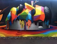 Rainbow Thief Mural Art By Okuda San Miguel Cutpastestudio Art - Artist gives italian kindergarten vibrant fairytale makeover