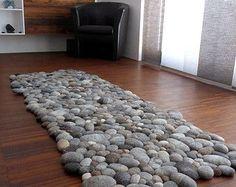 Tapis de feutrine pierres / cailloux 100% cachemire par flussdesign