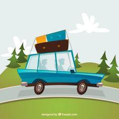 Cartoon traveling car Free Vector