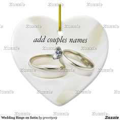 Wedding Rings on Satin Ceramic Ornament #Graityx9 #Zazzle #weddingornament #engagementornament