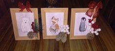 """Déco hivernale avec toiles d'animaux 5""""x8"""", peinture acrylique"""