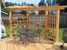 corner pergola idea for pool deck