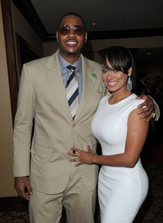 Carmelo and Lala... and Lala WORKIN that white dress!