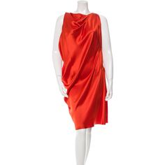 Pre-owned Lanvin Silk Draped Dress ($290) ❤ liked on Polyvore featuring dresses, orange, lanvin dress, red dress, orange sleeveless dress, ruched cocktail dress and drape dress